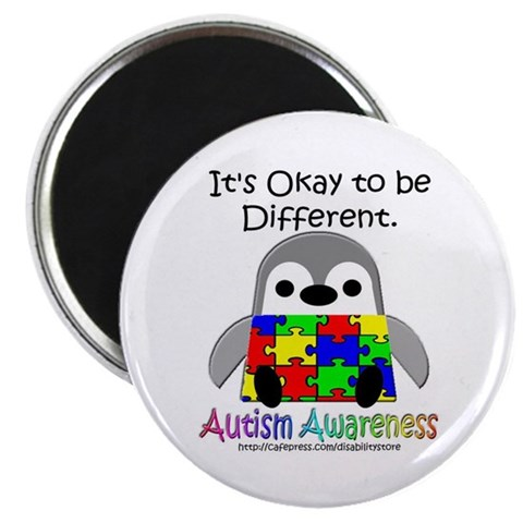 AA Penguin  Autism 2.25 Magnet 100 pack by CafePress