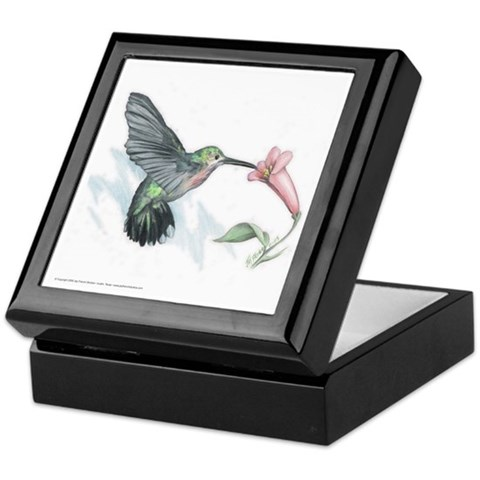 Hummingbird  Art Keepsake Box by CafePress