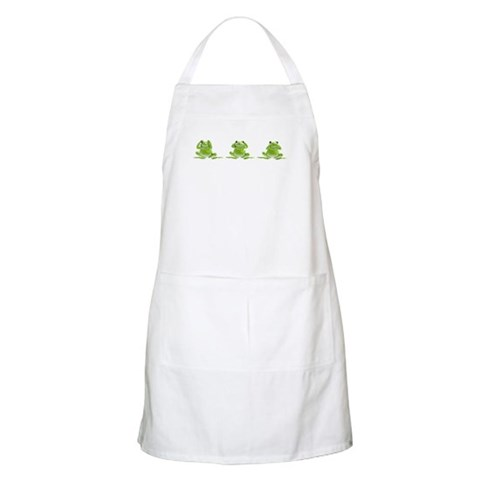 3 Frogs BBQ  Funny Apron by CafePress