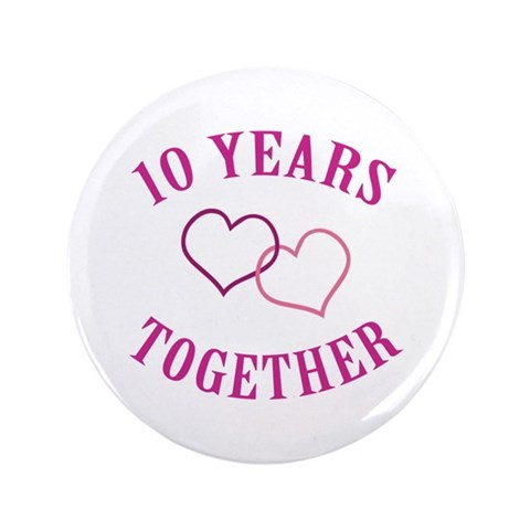 10th Anniversary Two Hearts  Romance 3.5 Button by CafePress