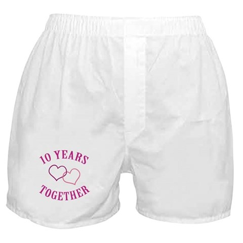10th Anniversary Two Hearts  Romance Boxer Shorts by CafePress