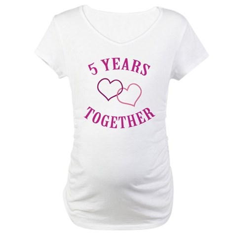 5th Anniversary Two Hearts  Romance Maternity T-Shirt by CafePress
