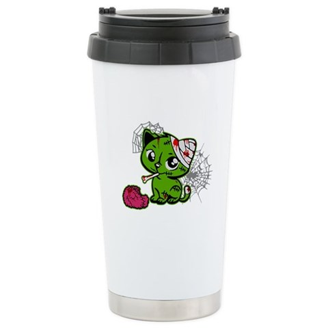 Zombie Kitty  Funny Ceramic Travel Mug by CafePress