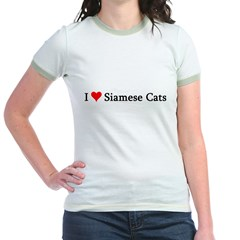I Love Siamese Cats Jr. Ringer T-Shirt