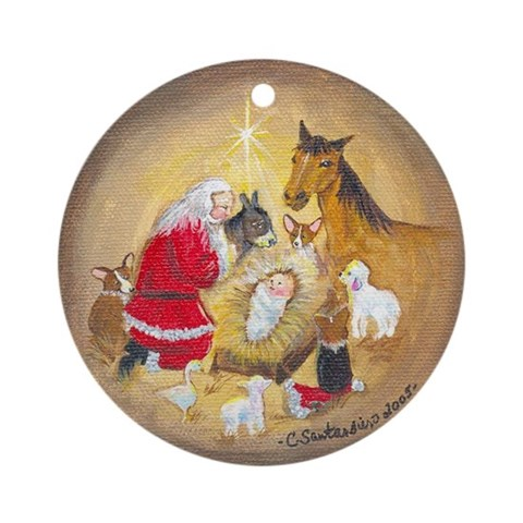Away in a Manger Ornament Round Corgi Round Ornament by CafePress