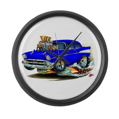 1957 Chevy 150/210 Blue Car  Art Large Wall Clock by CafePress