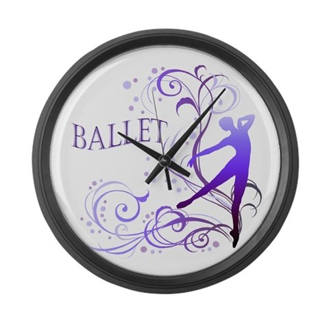 Ballet - scroll  Hobbies Large Wall Clock by CafePress