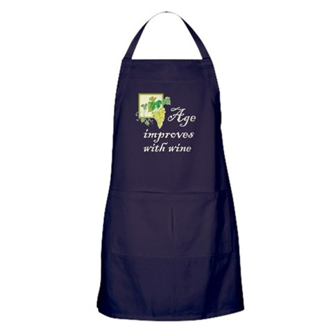 Age Improves with Wine  Funny Apron dark by CafePress