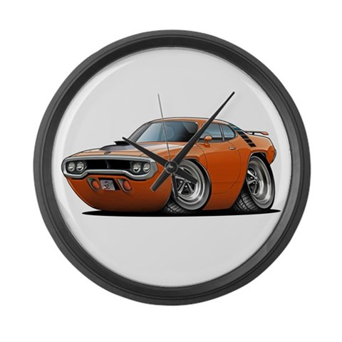 1971-72 Roadrunner Orange Car  Art Large Wall Clock by CafePress