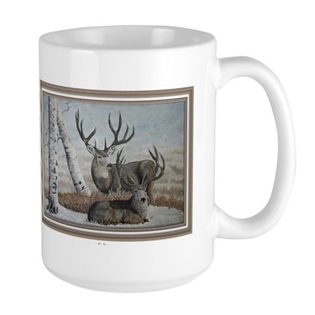 Mule deer bucks oil painting Large Mug by CafePress.com 420735489