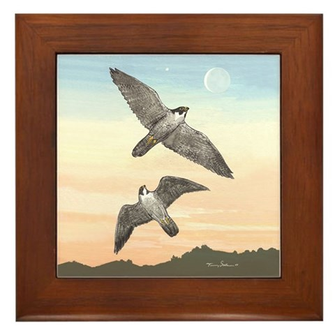 - Falcons in Flight Nature Framed Tile by CafePress