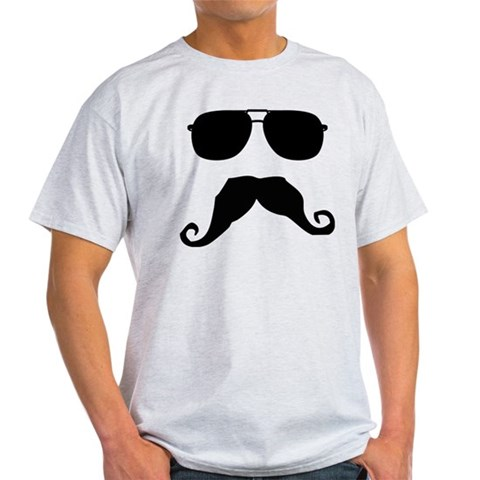 Cool Mustache Funny Light T-Shirt by CafePress