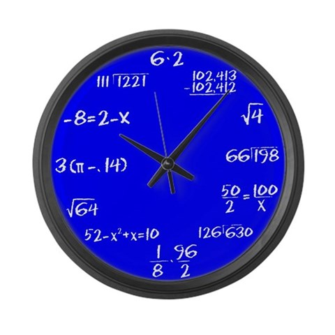 Blue Faced Math  Funny Large Wall Clock by CafePress