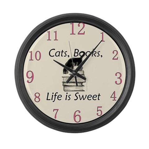 Cats Books Life is Sweet  Pets Large Wall Clock by CafePress