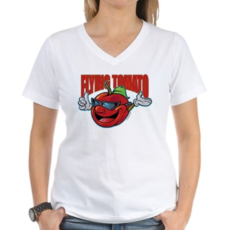 Flying Tomato! Women's V-Neck T-Shirt