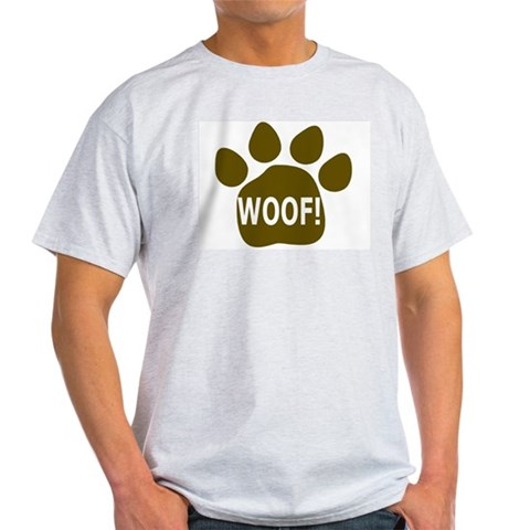 WOOF paw light brown Ash Grey T-Shirt Gay / lesbian / bi / transgender Light T-Shirt by CafePress