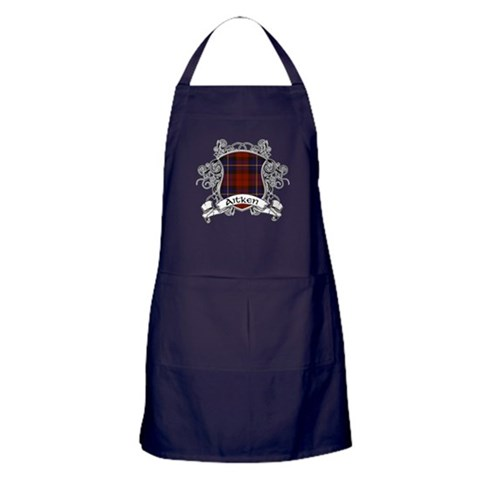Aitken Tartan Shield  Family Apron dark by CafePress
