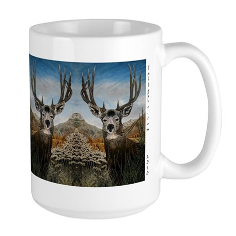 Mule deer oil painting Large Mug by CafePress.com 430162373