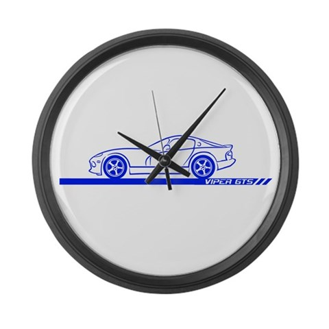 1996-02 Viper GTS Blue Car  Art Large Wall Clock by CafePress