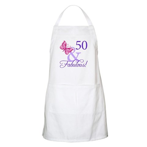 50th Birthday Butterfly  Cute Apron by CafePress