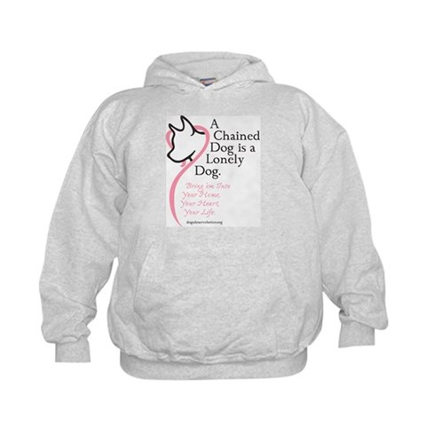 A Chained Dog is a Lonely Dog  Pets Kids Hoodie by CafePress