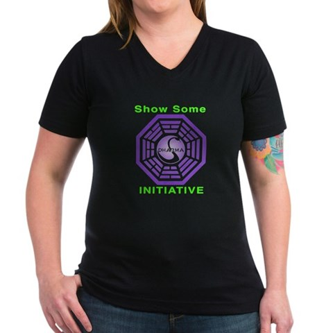 Product Image of Dharma neon Women's V-Neck Dark T-Shirt