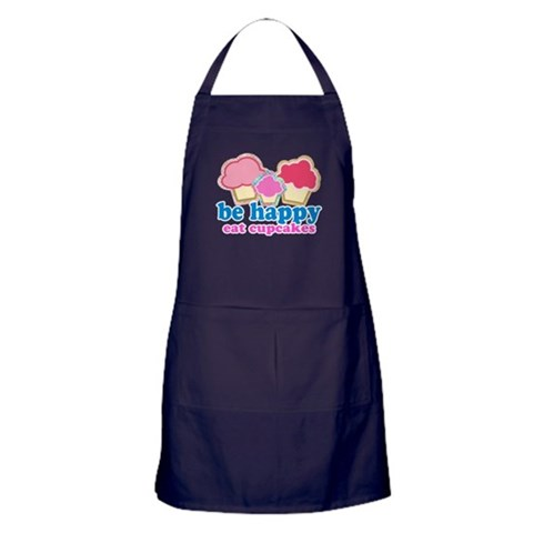 BE HAPPY EAT CUPCAKES  Cupcakes Apron dark by CafePress