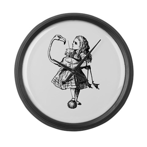 Alice and Flamingo  Alice in wonderland Large Wall Clock by CafePress