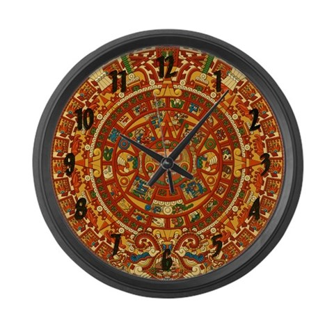 Ancient Aztec Calendar  Mexico Large Wall Clock by CafePress