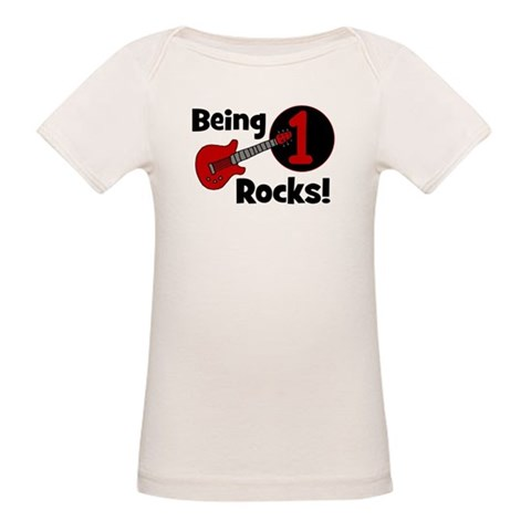 Being 1 Rocks Guitar  Funny Organic Baby T-Shirt by CafePress