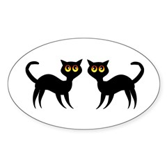Black Cats Sticker (Oval)