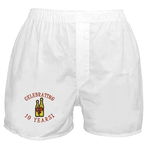 10th Anniversary Wine Bow  Wedding Boxer Shorts by CafePress
