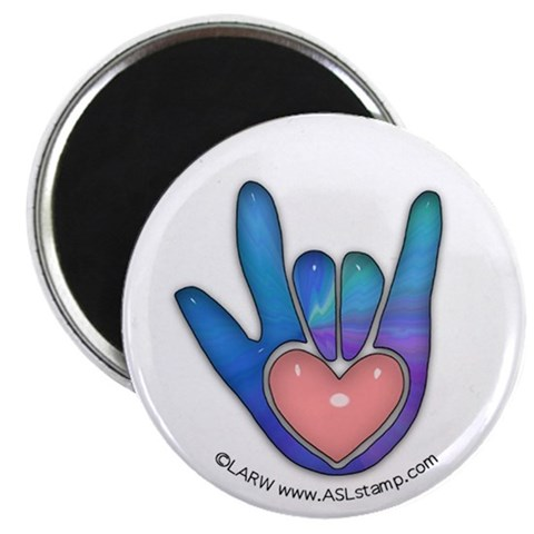 Blue/Pink Glass ILY Hand  Romance 2.25 Magnet 100 pack by CafePress