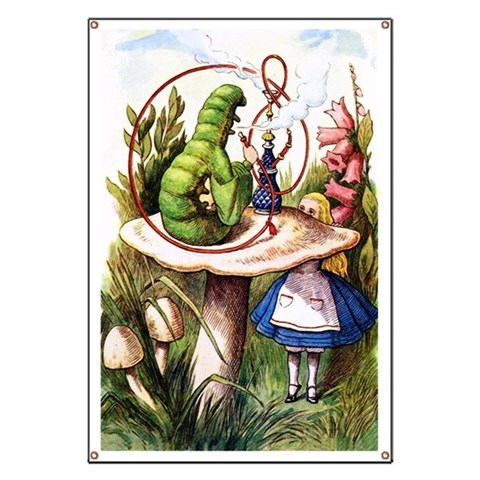 ALICE AND THE CATERPILLAR  Funny Banner by CafePress