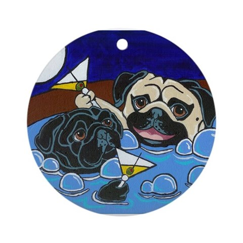 Hot Tub Pugs Ornament Round Pets Round Ornament by CafePress