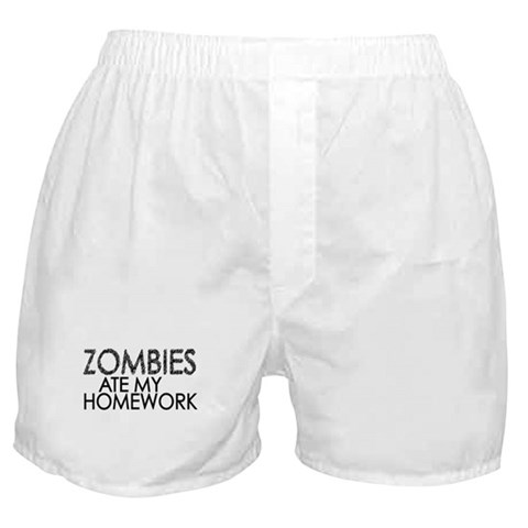 Zombies at my Homework  Funny Boxer Shorts by CafePress