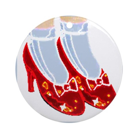 Red Ruby Slippers Car Ornament Round Cute Round Ornament by CafePress