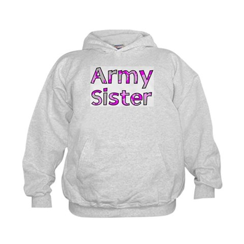 Army Sister Pink Camo  Military Kids Hoodie by CafePress