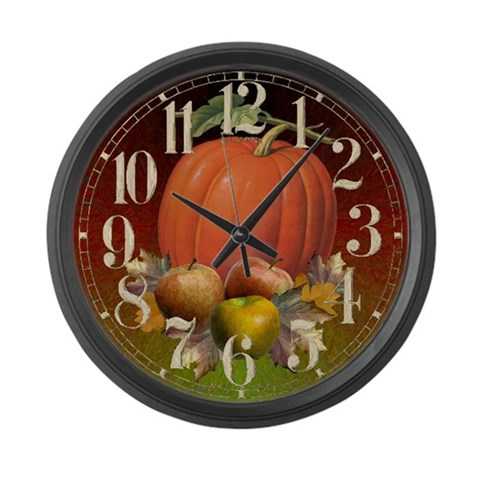 Autumn Fruits  Halloween Large Wall Clock by CafePress
