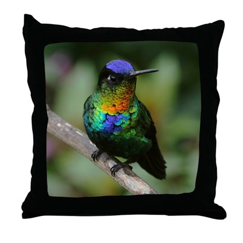 Fiery-Throated Hummingbird Bird Photo  Birds Throw Pillow by CafePress