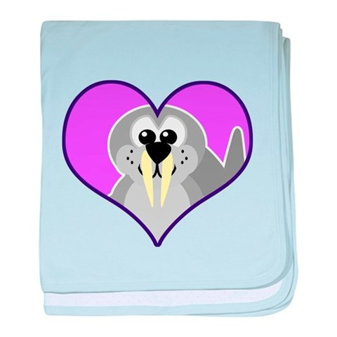 Cute Walrus Goofkins in Heart Infant Blanket Funny baby blanket by CafePress