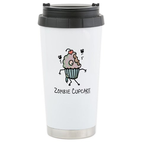 Zombie cupcake  Funny Ceramic Travel Mug by CafePress