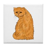 Red Persian Cat Portrait Tile Coaster
