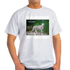 Snow Leopard Photo (Front) Ash Grey T-Shirt