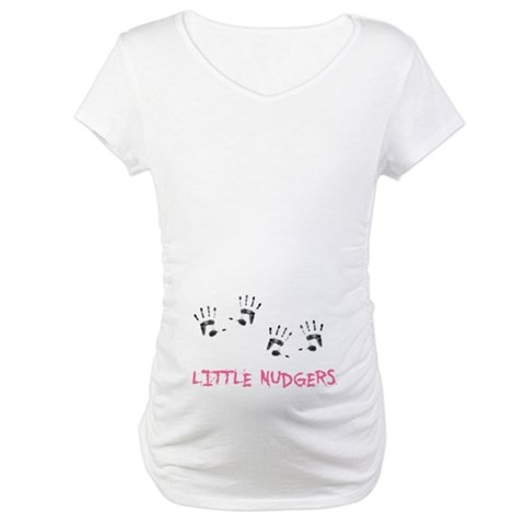 2 Lil Nudgers  Twilight Maternity T-Shirt by CafePress