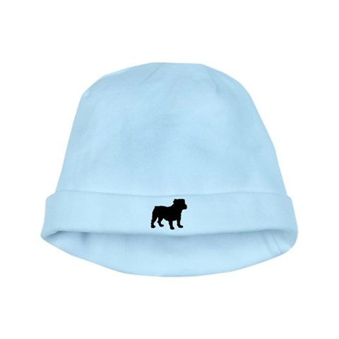 Bulldog Silhouette  Pets baby hat by CafePress