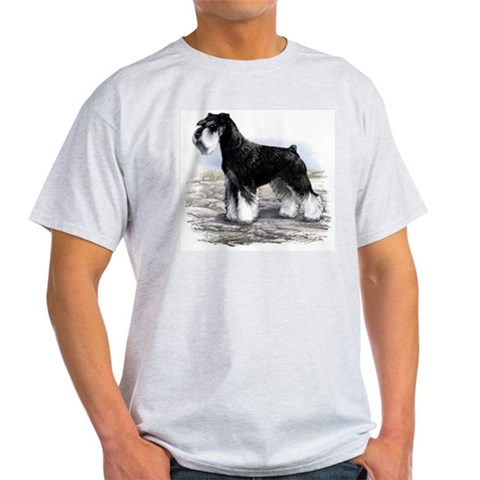 Miniature Schnauzer Ash Grey T-Shirt Pets Light T-Shirt by CafePress