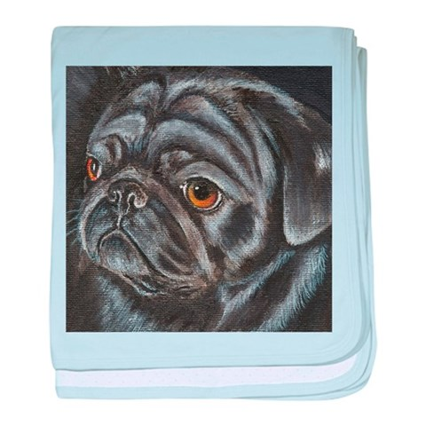 Black Pug  Pets baby blanket by CafePress