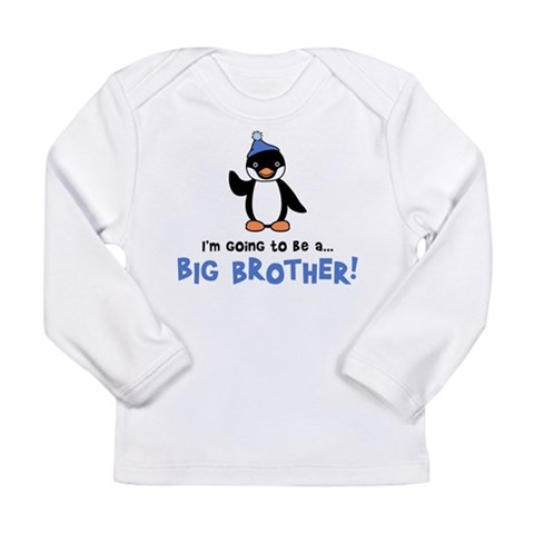 Big Brother to be - Penguin Long Sleeve Infant T-S Baby Long Sleeve Infant T-Shirt by CafePress