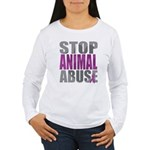 Stop Animal Abuse(Paw) Women's Long Sleeve T-Shirt